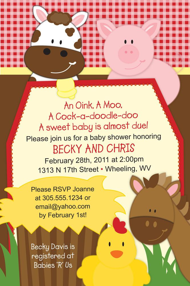 Set of 20 - Farm Barnyard Animals Birthday or Baby Shower Invitations