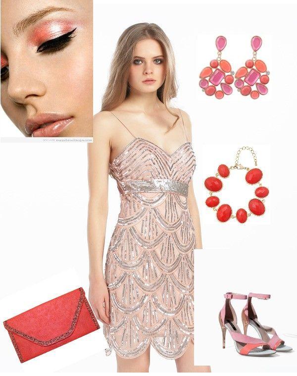Look de invitada en color coral brillante. Perfecto para noches estivales.