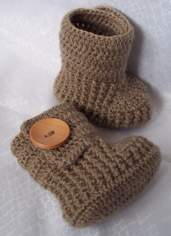 Crocheted baby boots.