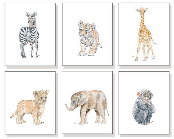Safari vivero vivero acuarela grabado impresiones vivero selva acuarela vivero León impresión elefante jirafa tigre cebra mono juego de 6.