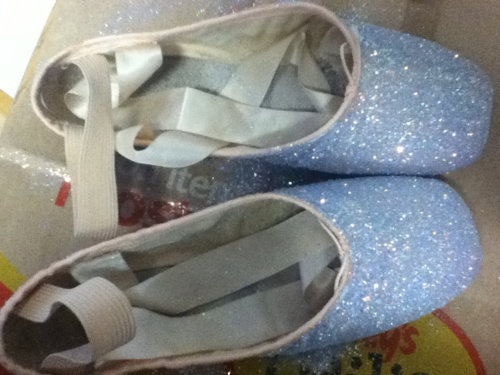 Glitter pointe shoes