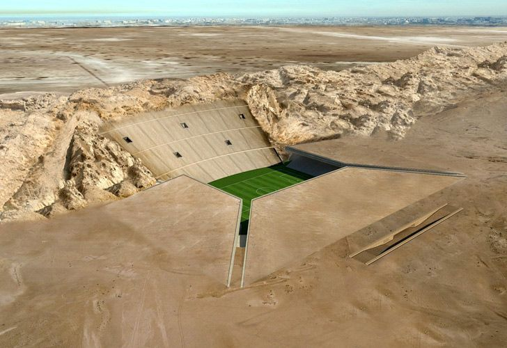 Awesome Desert Stadium Built Right Into the Ground... Lebanese design firm MZ Architects designed this stadium in the desert of Al Ain in the United Arab Emirates, maximizing the surrounding landscape by turning it into the actual infrastructure of the building itself.