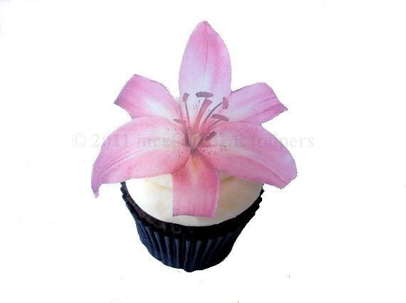 Edible Cake Pink Lily  12 Cupcake Toppers  by incrEDIBLEtoppers, $11.00
