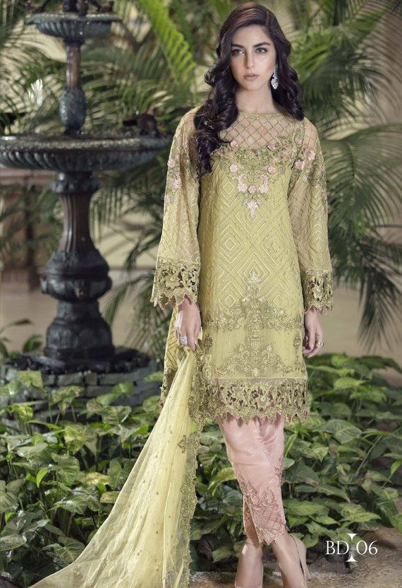 Ropa paquistaní - MariaB Mbroidered gasa 2016 colección - Shalwar Kameez, Salwar India/Bollywood traje Moda paquistaní