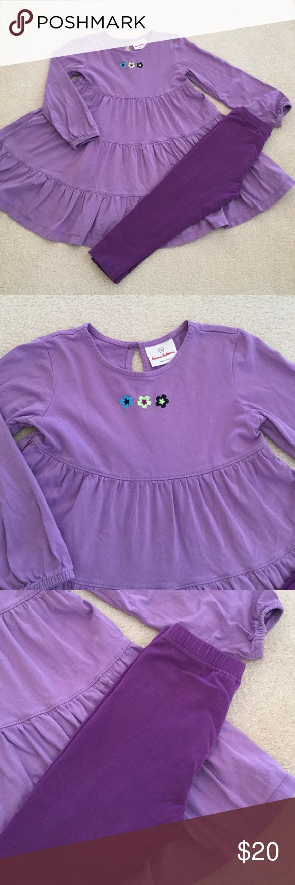 Hanna Anderson outfit 110 Dress 110 GUC! leggings 100(us 4T)  but, worn together. Fit like capri length. No stains or rips. Both Fits like 4-5T Hanna Andersson Matching Sets