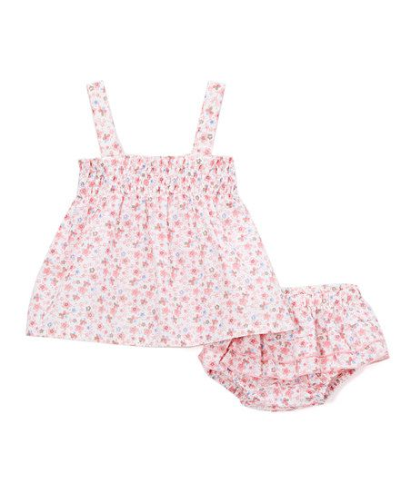 Petit Confection Pink Floral Pleated Swing Top & Bloomers - Infant | zulily