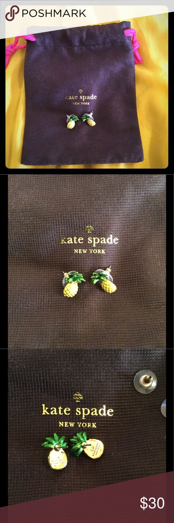 """KATE SPADE PINEAPPLE STUDS EARRINGS- NWOT NWOT and pouch.  Never used.  drop length: 0.75"""".  Width:  0.5"""".  Shiny 12-karat gold-filled posts.  Currently on katespade.com for $33. kate spade Jewelry Earrings"""