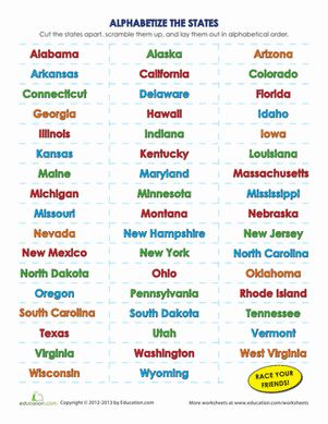 List Of The 50 States In Alphabetical Order Kid Us
