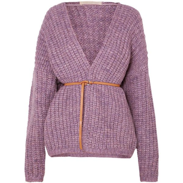 Vanessa Bruno Irvina belted ribbed-knit cardigan ($545) ❤ liked on Polyvore featuring tops, cardigans, jackets, lavender, chunky cardigan, slimming tops, slim fit cardigan, short-sleeve cardigan and leather belt