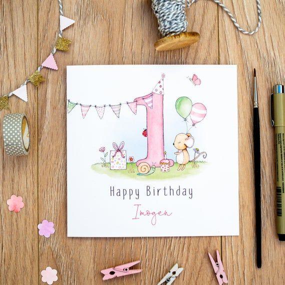 Personalised Girls Birthday Card 1st Birthday Card 2nd Etsy In 2021 First Birthday Cards 1st Birthday Cards Girl Birthday Cards