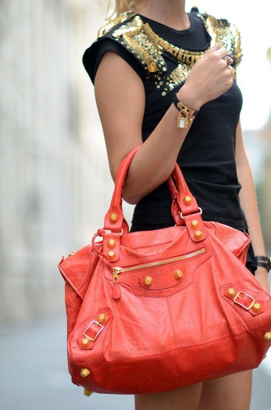 bde6b9edc7d7 Giant Gold   Coral Balenciaga Bag  3 Great Handbag!