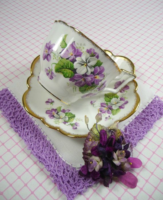 Vintage Tea Cup & Saucer Purple Violets Hankie and by meaicp, $40.00
