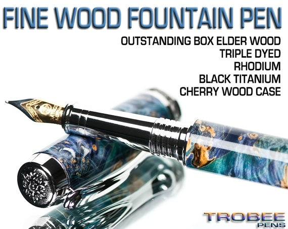 Wood pen fountain style wooden custom pens make by Trobee Pens, $129.99
