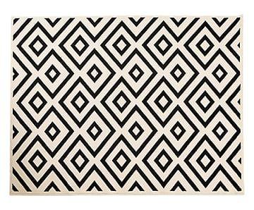 teppich geometrical rombi schwarz wei 80 x 150 cm. Black Bedroom Furniture Sets. Home Design Ideas