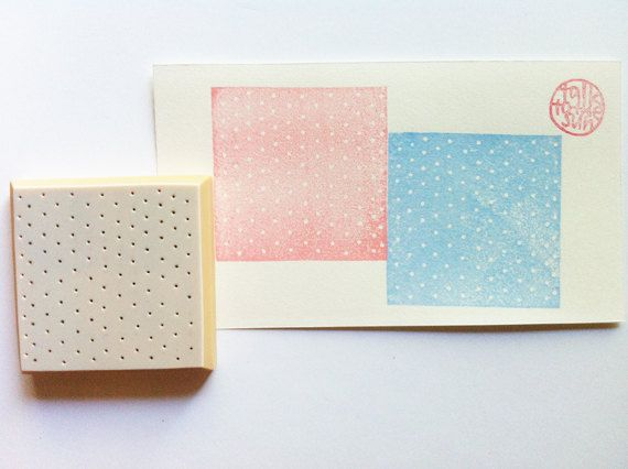 small polka dot rubber stamp. square pattern by talktothesun