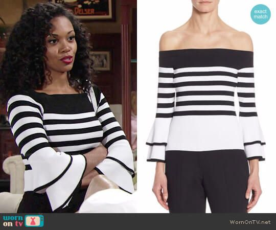 Hilary's striped bell-sleeve sweater on The Young and the Restless.  Outfit Details: https://wornontv.net/76611/ #TheYoungandtheRestless