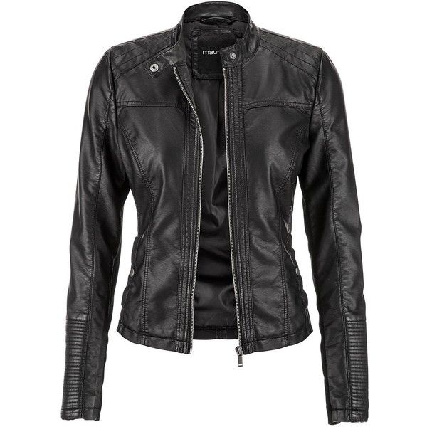 maurices Moto Jacket With Ribbed Knit Sides ($59) ❤ liked on Polyvore featuring outerwear, jackets, leather jackets, black, coats, plus size womens motorcycle jackets, plus size jackets, long sleeve jacket, zip up jacket and black collar jacket