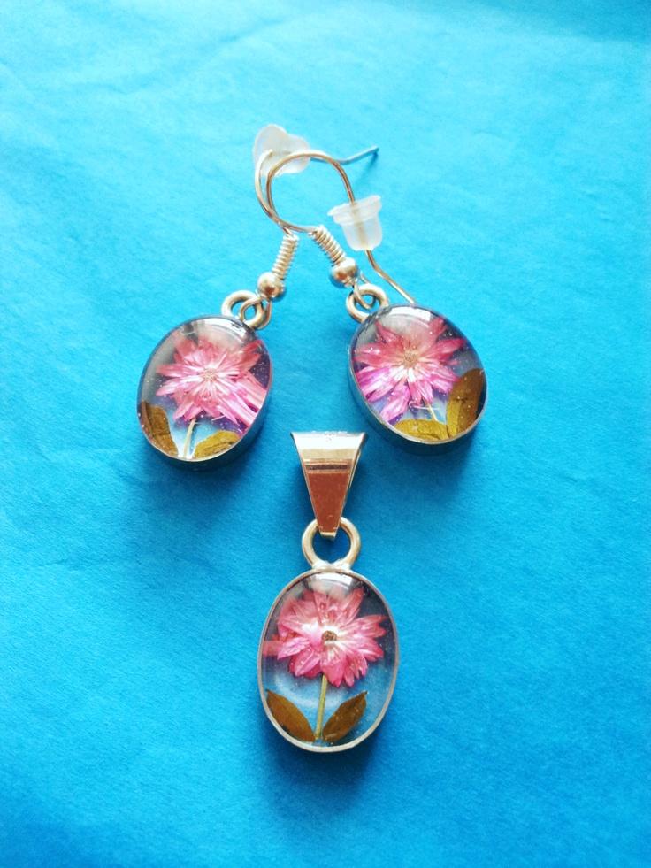 Gerbera flower, Mini gerbera, earrings, sterling silver, pink, jewelry