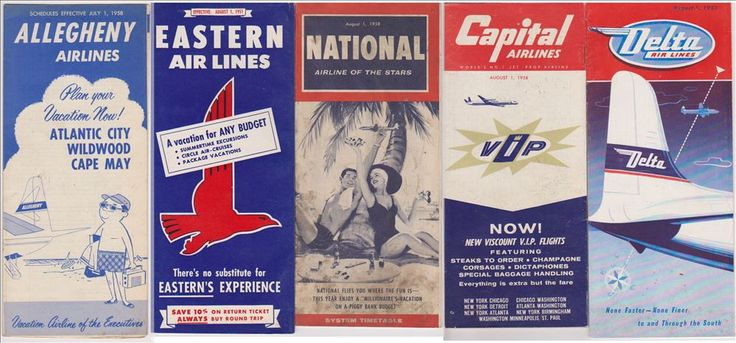 1950s Airline Schedules Timetables Allegheny Eastern – Old Orchard Antiques And Collectibles