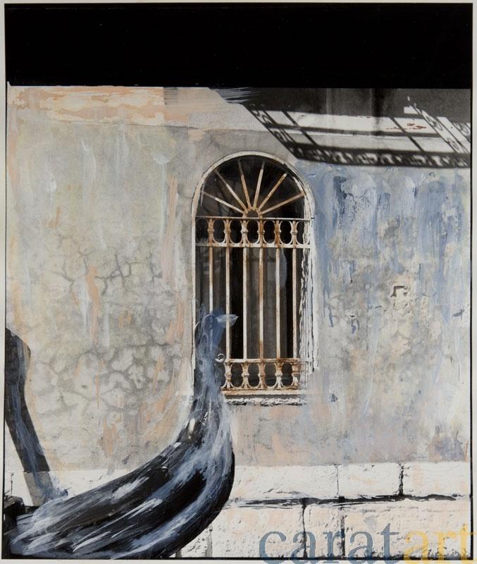 Elis Hoymann, Venedig, Übermalung 2, Fotografie mit der analogen Mittelformatkamera, schwarz/weiß, vergrößert auf Baryt-Papier und übermalt mit Acryl, 19 x 19 cm, 2001 / 2012, 340 €