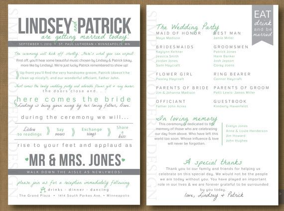Fun Wedding Program Unique Fan Timeline Itinerary Card Printable Or Printed Programs