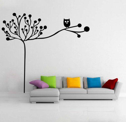 """Adesivo murale """"Owl and tree - Gufetto sull'albero"""" Wall Sticker Vinyl Decal adesivo prespaziato in vinile design arredamento per decorazione pareti e muri, http://www.amazon.it/dp/B00GS4W5BE/ref=cm_sw_r_pi_awd_aFl-sb0HG7NBV"""