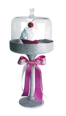 Glittered Glass Dessert Stand - Your dessert will be sure to standout with this stunning glittered glass dessert stand. Makes a great centerpiece for parties and bridal showers!