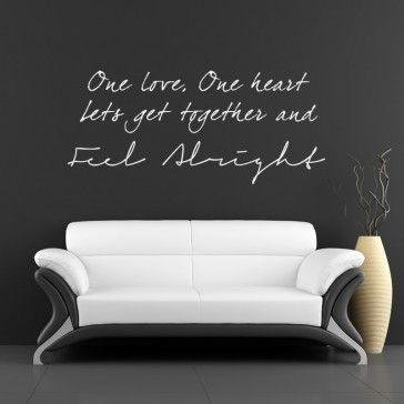 One love one heart bob marley lyrics wall sticker vinyl decal art