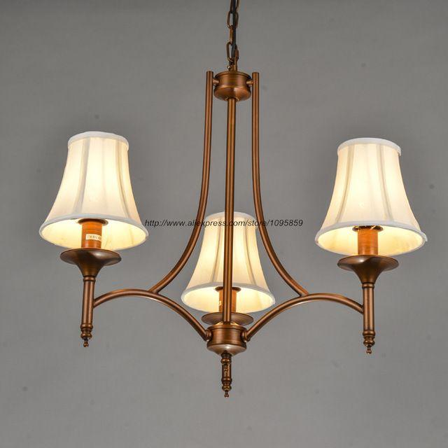 Moderne Rustieke Stijl 3 Arm Kroonluchter Licht Lamp Wit Stof Schaduw Eetkamer Plafond Armatuur Verlichting