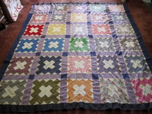 """Antique-Friendship-Album-Signature-Quilt-Top, ebay seller beans-and-frank, 81"""" x 74""""; 30 embroidered names, 1920s or 30s, hand pieced, sashing is newer and sewn by machine, purchased near Youngstown, Boardman, Ohio, signatories born around 1902-1911 in Pennsylvania, names inclu: Lily Carpender, Alma & Margie & Elsie & Mae & Bernice Brooks, Elizabeth Hileman, Cleta Williams, Ula & Amanda Kenner; Pearl, Norma, Minnie & Agnes Harrell"""