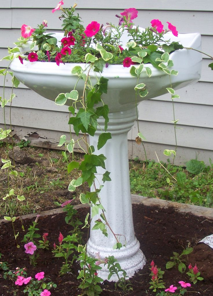 Pedestal sink repurposed as planter gabby 39 s garden pinterest pedestal sink sinks and - Pedestal para plantas ...