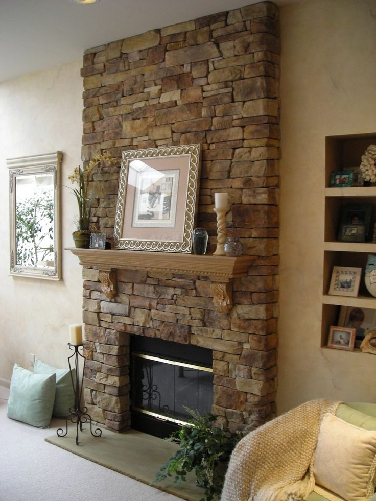Furniture Inspiring High Stone Fireplaces Images Between Bookcases In Cream Painted Wall In Living Room Inspiring Stone Fireplaces Models