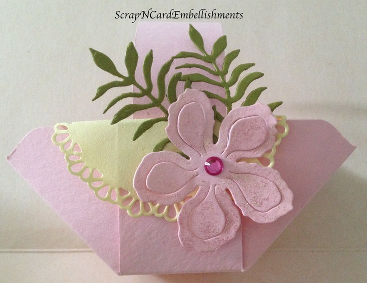 Stampin' Up Products...Botanicals Dies, Pink Pirouette & Old Olive Card stock. Basket made using Envelope Punch Board. Made By Louise