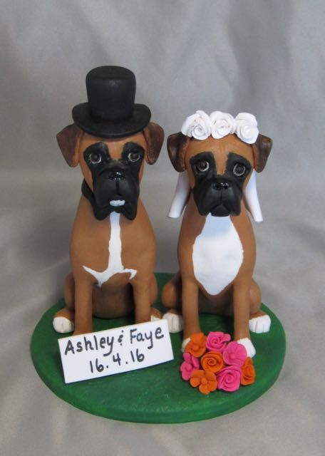 Boxer dog bride and groom custom wedding cake topper. Hand sculpted from polymer clay.