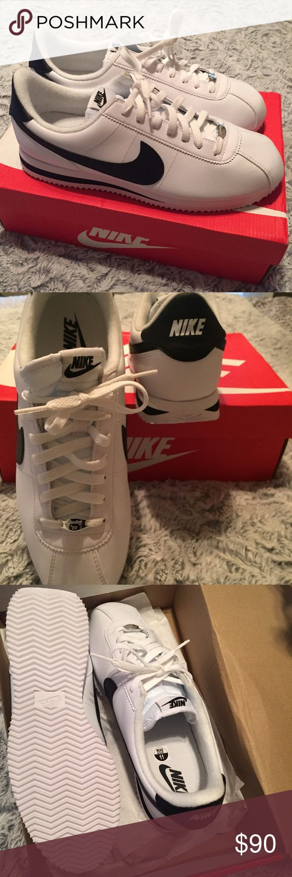 Nike Cortez '72 NIB Men-11 Women-13 Brand New in Box Nike Cortez Basic Leather White/Metallic Silver/Black. 11 in Men or 13 in Women. They say to get a half-size up in these, so if you're a 10.5-11 Men or 12.5-13 Women, these will fit. Silver embellishment reads Cortez '72. These have never been worn. He found some in gray instead. These are hard to find in this size and retail in an updated version on Nike.com for $115. I prefer the old school style...of everything in general.  Nike Shoes…