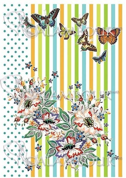 DGR 294 - papier ryżowy Gipsy motyle kwiaty groszki