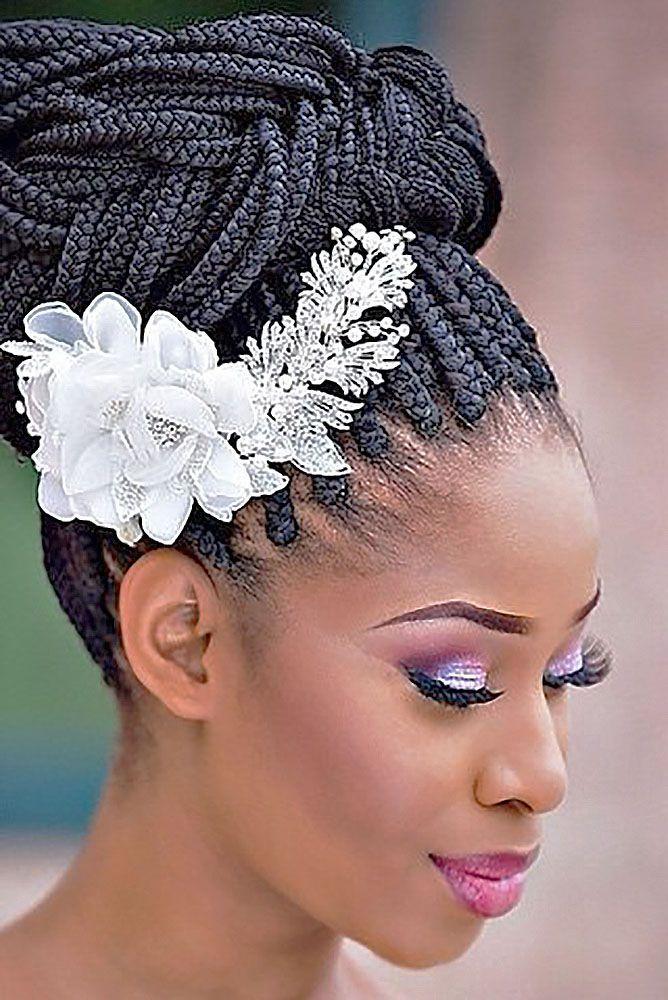 18 Black Women Wedding Hairstyles See More Http Www Weddingforward Co Black Bridesmaids Hairstyles Black Wedding Hairstyles Braided Hairstyles For Wedding