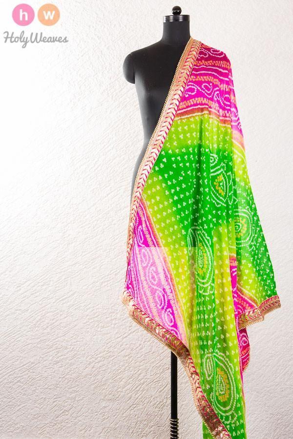 #Green #Pink #Georgette #Bandhani #Dupatta #HolyWeaves