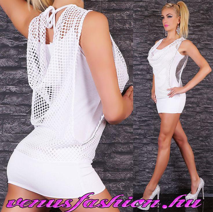 Divatos fehér strasszos mini ruha kámzsás party ruha tunika - Venus fashion női ruha webáruház