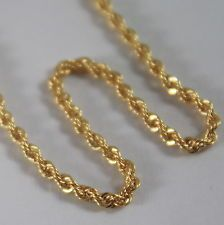 18K SOLID YELLOW GOLD CHAIN NECKLACE, BRAID ROPE 17.71 INCH LONG, MADE IN ITALY