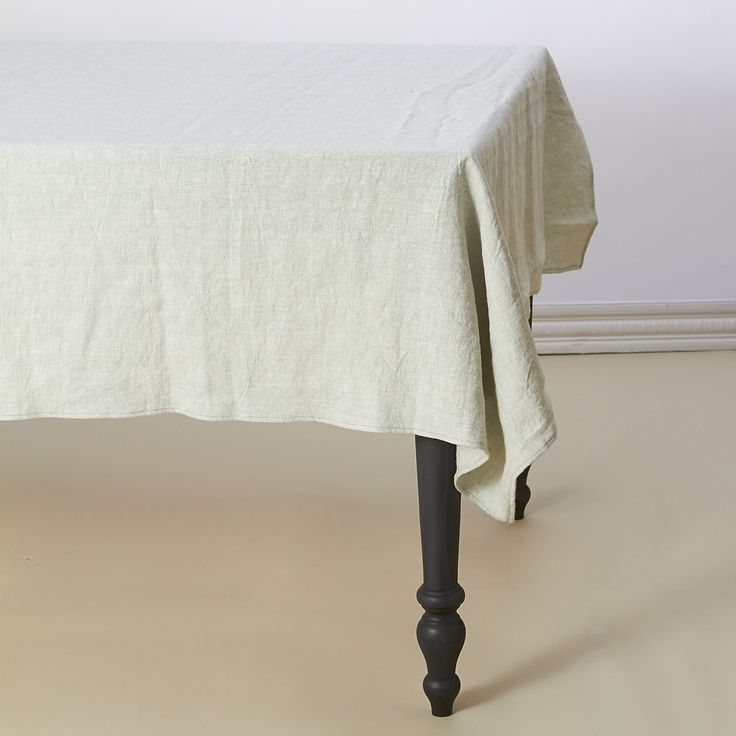 "Classic Linen Tablecloth Made from a heavy, luxurious linen blend, this classic tablecloth is a kitchen mainstay that will get softer with every wash.  - Cotton, linen, rayon - Spot clean only - Imported  55""W, 99""L"