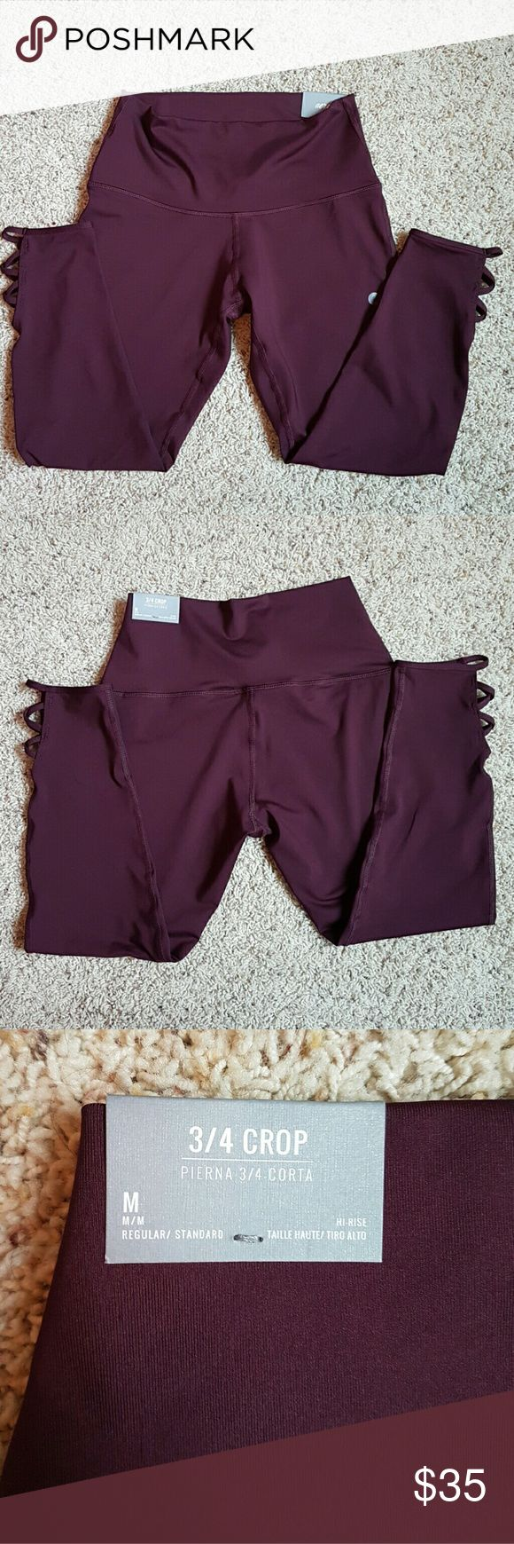 Aerie Criss Cross Leggings Deep Plum 3/4 length athletic/day-wear leggings/crop with criss-cross design at calves. High-rise and regular fit. Aerie Pants Leggings