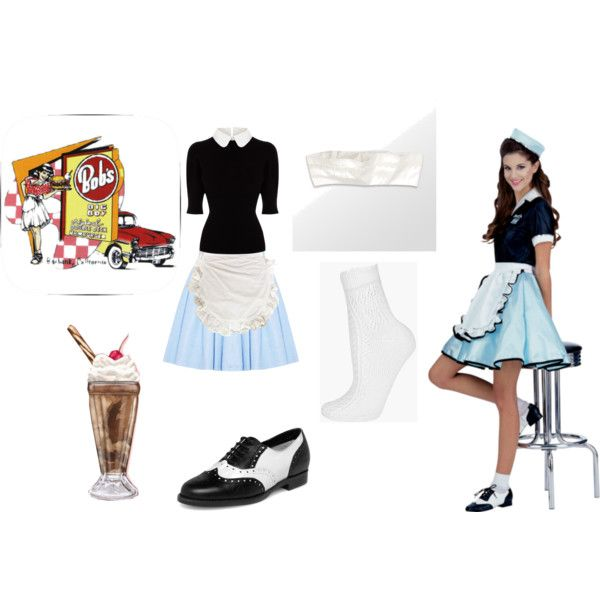 """50's Waitress"" by mewmewkitty on Polyvore"
