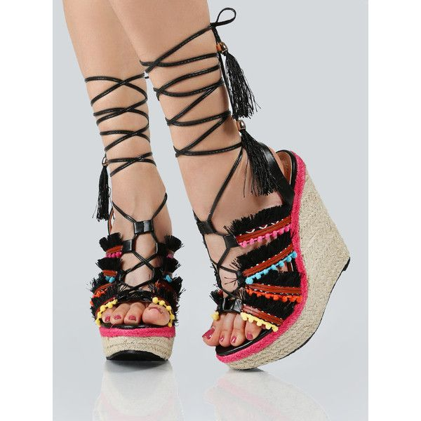 Colorful Strap Up Wedges BLACK MULTI ($35) ❤ liked on Polyvore featuring shoes, sandals, black, strappy wedge sandals, strap sandals, black wedge heel sandals, lace up wedge sandals and black wedge sandals