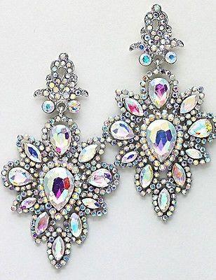 "2.75"" Long Rhinestone SILVER AB Pageant Earrings Chandelier Aurora Borealis | Jewelry & Watches, Fashion Jewelry, Earrings | eBay!"