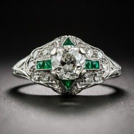1.10 Carat Diamond Art Deco Engagement Ring with Emerald Calibre