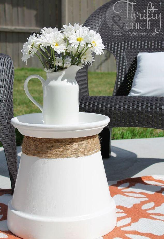 Repurposed terracotta pot into accent desk house decor outside furnishings outside…