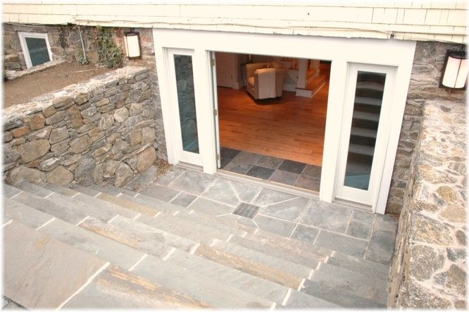 Walkout basement entrance with double doors for Basement entry