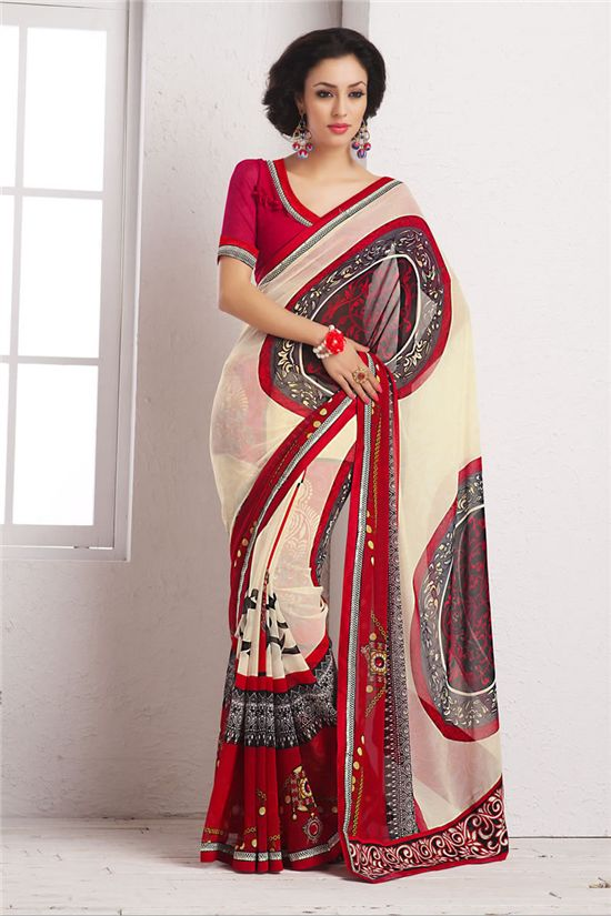 Simple Sarees-Simple Sarees Cream,Red Georgette Printed #Saree