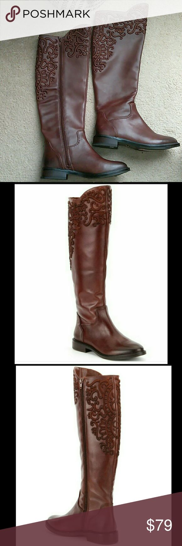 New Gianni Bini Brytt Leather Riding Boots New Gianni Bini Brytt Leather Riding Boots. Beautifully Embroidered all around. Inner side zipper, top to bottom. Gianni Bini Shoes